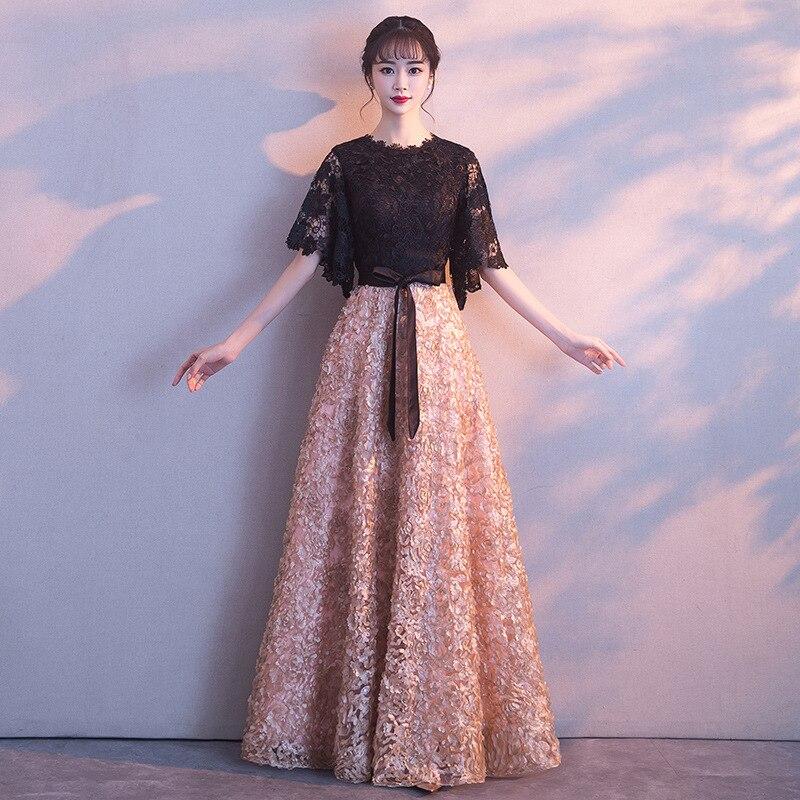 Robes orientales chinoises élégant kaki noir dentelle robe de soirée Simple étage-longueur mariée de bal longue Cheongsam fête formelle robe