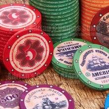 100 шт., набор керамических фишек для покера с американской историей+ 1 кнопка дилера, изысканный ретро дизайн, фишки для покера, 100, жетон