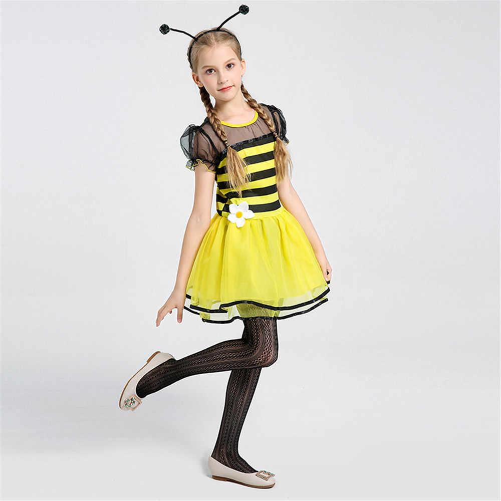 ... Little Girl Bee Costume Kids Children Fairy Fancy Dress Black Yellow  Stripe Dress Tween Halloween Carnival ... e42972d77d17