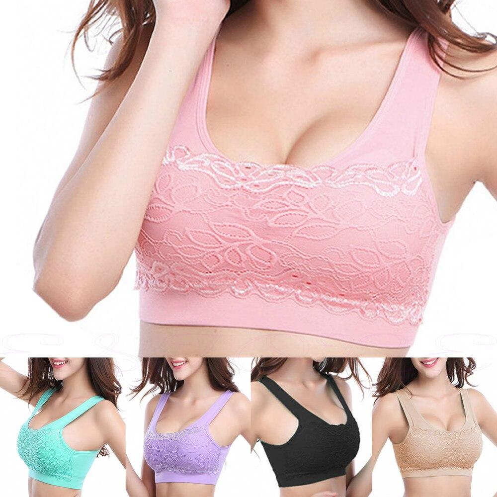 Hot Women Yoga Fitness Stretch Workout Tank Top Seamless Lace bra Padded Sports Bra Бюстгальтер
