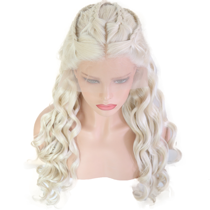 Bombshell Platinum White Hand Tied Synthetic Lace Front Braid Wig Heat Resistant Fiber Hair Middle Parting