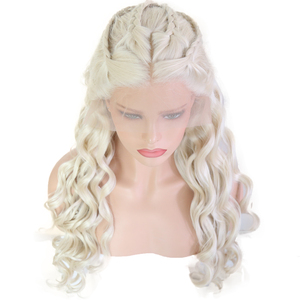 Image 1 - Bombshell Platinum White Hand Tied Synthetic Lace Front Braid Wig Heat Resistant Fiber Hair Middle Parting For White Women Wigs