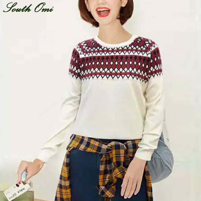 Pullovers Female Sweaters Knitwear Jumper Yarntricot White/pink Plaid