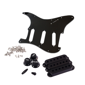 1set SSS Electric Guitar Pickguard Back Plate Pickup Cover Knobs Tips For St SQ Accessories Parts
