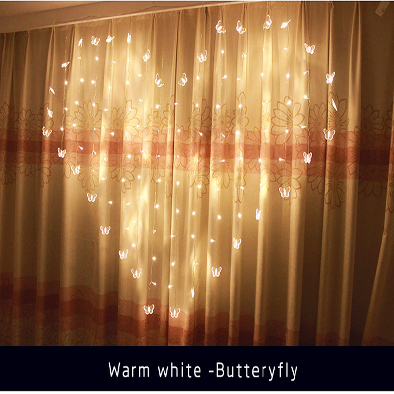 Fairy 2x1.5m LED Heart Shape Curtain Light New Year Christmas Garland Lighting Lamp Wedding Party Indoor Home luminaria Decor