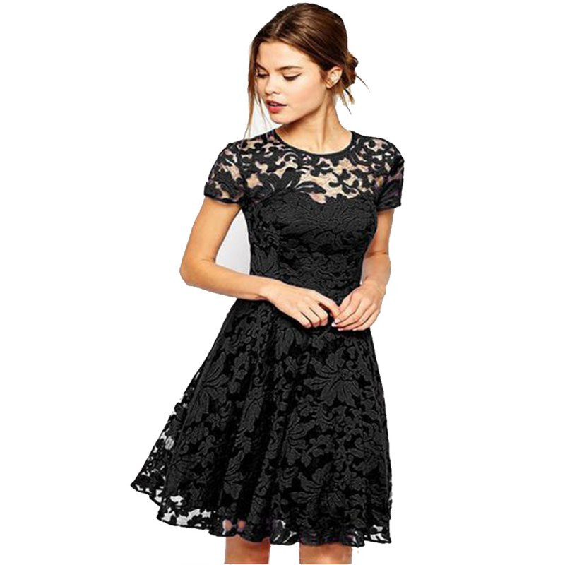 2017 New Women Casual Fl Lace Dresses Short Sleeve Soild Color Blue Red Black Party Mini Dress Plus Size S4 In From S Clothing