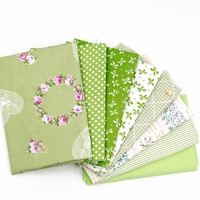 Green Wreath Stripes Flowers Cotton Patchwork Sewing Tilda Dolls Telas Patchwork 8pcs Lot 40cm 50cm