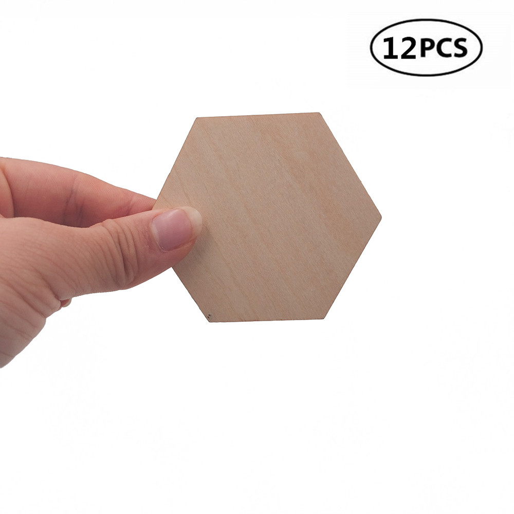 12pcs 60mm 2.36inch Unfinished Wood Cutout Pieces Hexagon Squares Cutout Tiles Natural Rustic Craft Wood For DIY Supplies