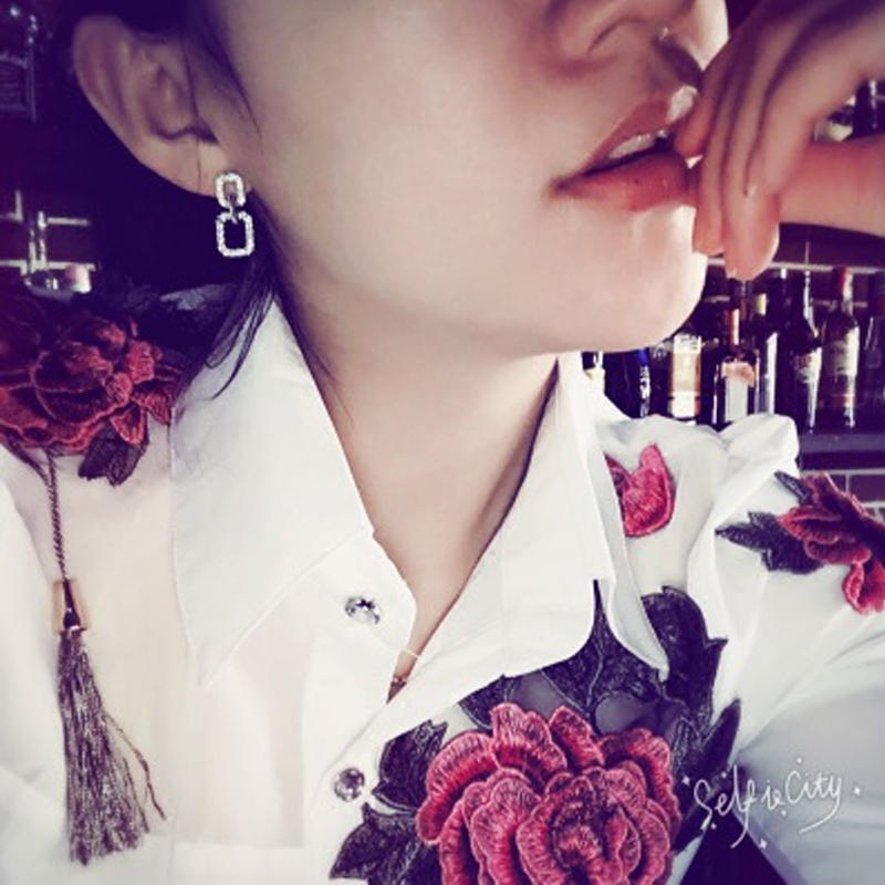 Bordado Blusa Collar Flor De Blusas Camisa Mujeres Blanco Negocios Algodón Tops Vintage Femenino red Mandarín white Traje Black 2017 tq4wxE4