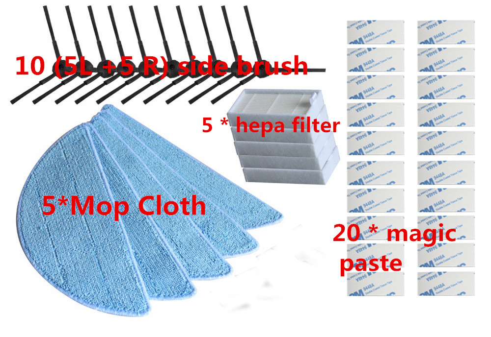 10*side Brush+5*hepa Filter+5*Mop Cloth+20*magic paste for ilife v5s ilife v5 pro ilife x5 V3+ V5 V3 v5pro vacuum cleaner parts