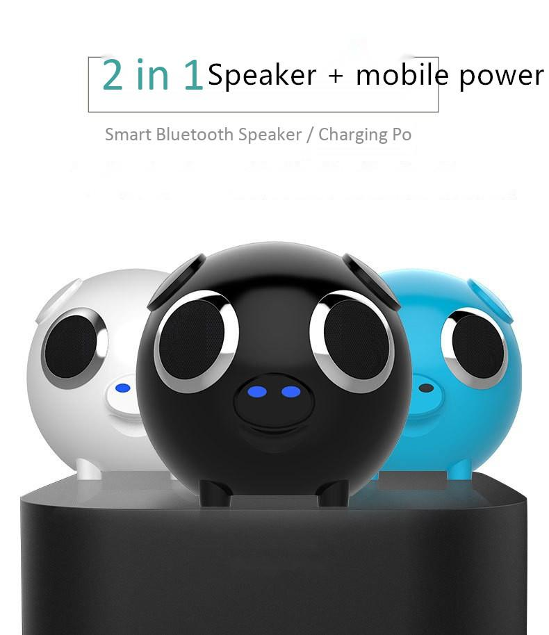 DSstyles Portable Bluetooth Speaker Pig Head Audio FM Radio Phone TF Card MP3 Charging Treasure Subwoofer Stereo Player