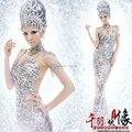 Roupas sexy vestido cor prata estrela dançarino do cantor roupas de palco traje desempenho e mostrar