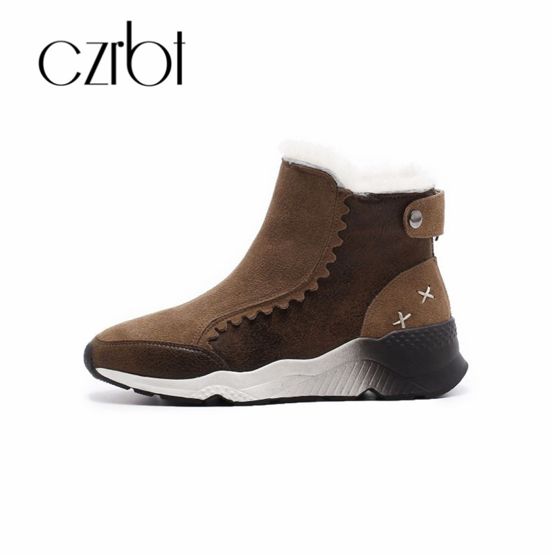CZRB hot new womens shoes winter boots and wool plush comfort fashion boots leather platform wedge heels snow shoes womenCZRB hot new womens shoes winter boots and wool plush comfort fashion boots leather platform wedge heels snow shoes women