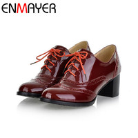ENMAYER Concise Solid Lace Up Women Shoes Spring Autumn Patent Round Toe Oxford Shoes Square Heel