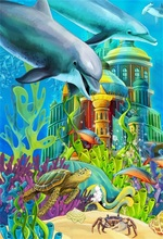 Laeacco Sea Underwater Whale Castle Coral Baby Party Photography Backgrounds Customized Photographic Backdrops For Photo Studio