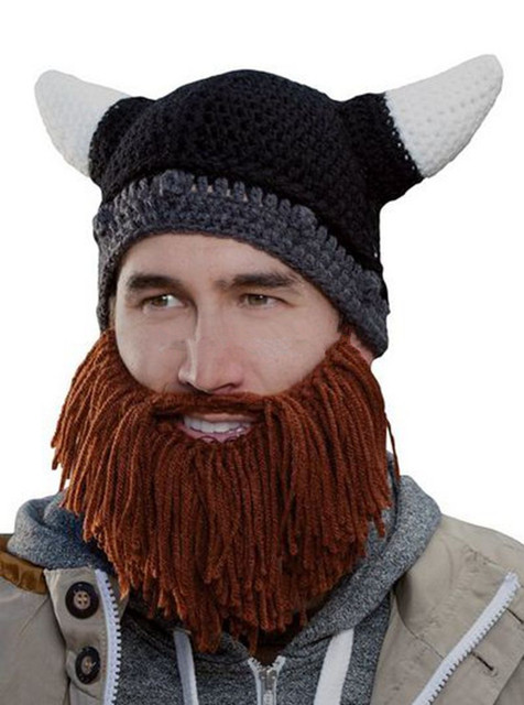 Vikings Beanies Beard Horn Hats Handmade Crochet Gorro Winter Warm Men's Caps Funny Party Masks Hallowen Gifts