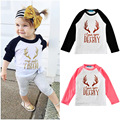 Spring Autumn Baby T-shirts Girls Antlers Letter Reglan Sleeve Boys T-shirt Children Clothes Kids Clothing B109