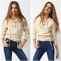 2017 New Chic Lace Up Autumn Blouse Sexy Women sweater V neck Girls Sexy Blusa Gray Crop Top Long Sleeve Women Sweater