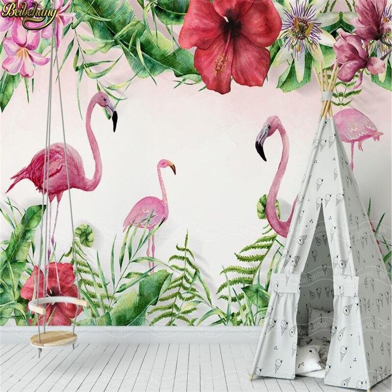 Купить с кэшбэком beibehang Custom Photo Wallpaper Mural Hand Painted Medieval Tropical Flamingo Plant Wall papel de parede wall papers home decor