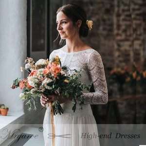 Image 5 - Mryarce 2019 Boho Chic Exclusive Lace Rustic Wedding Dress Illusion Long Sleeves Open Back Bridal Gowns