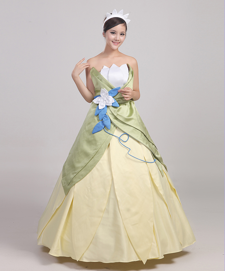 Wonder woman cosplay The Princess and the Frog costume adult princess tiana dress for Halloween costume long green Party dress (5)