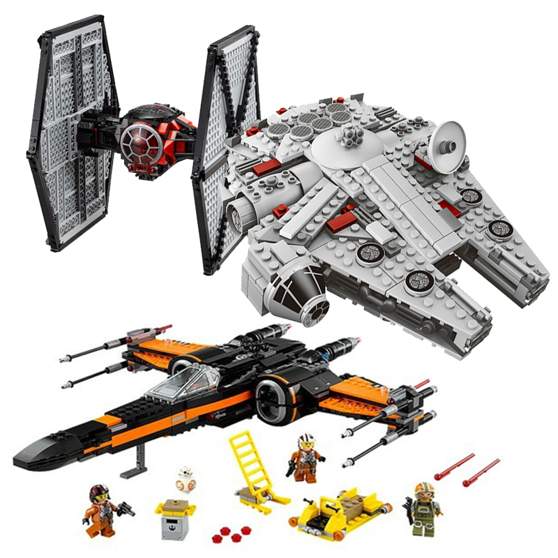 Legoings Star Wars Building Kit Millennium Falcon Poe's X Wing Fighter Building Blocks Bricks Toys Compatible 75101 75149 75102 lepin star wars millennium falcon special forces fighter starwars building blocks sets bricks classic model compatible legoings