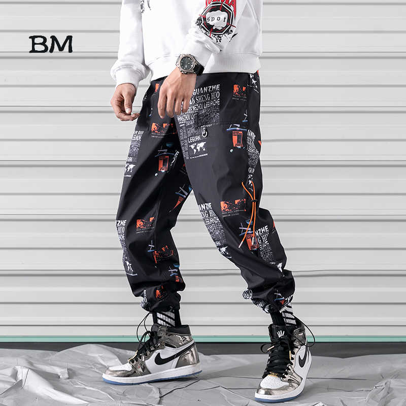 hip hop summer print sweatpants thin korean style streetwear joggers men fashions harem pants casual techwear oversized pants