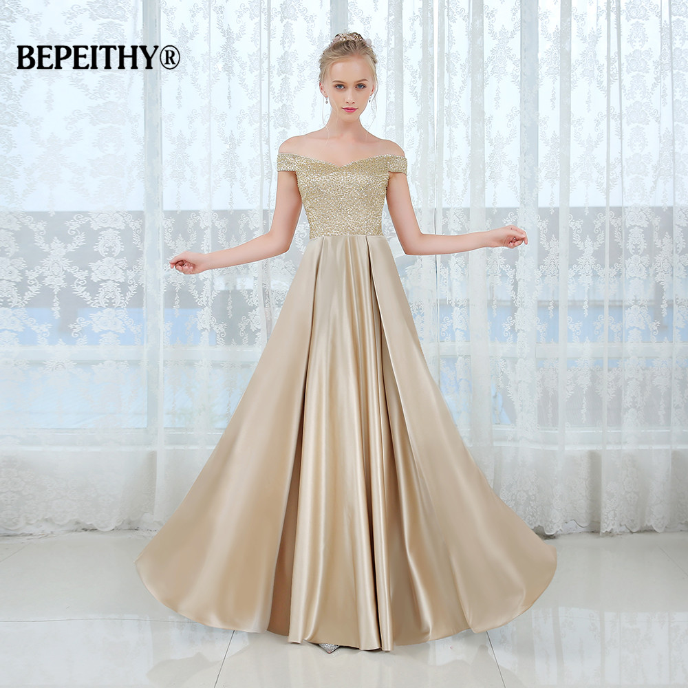 New Arrival Off The Shoulder Crystal Top Long Evening Dress Vestido De Festa Vintage Cheap Prom Dresses Robe De Mariage 2019