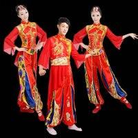 -ORIENT REINE Chinois Danse Folklorique Tambour Yangko Danse Costumes Chinois Dragon Fan De Danse costumes pour hommes et femmes AA2254 Q