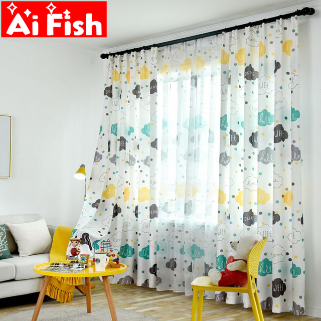 Cartoon Blackout Curtains Cute Cloud Pattern Curtain For Living Room Door Window Valance Kid S