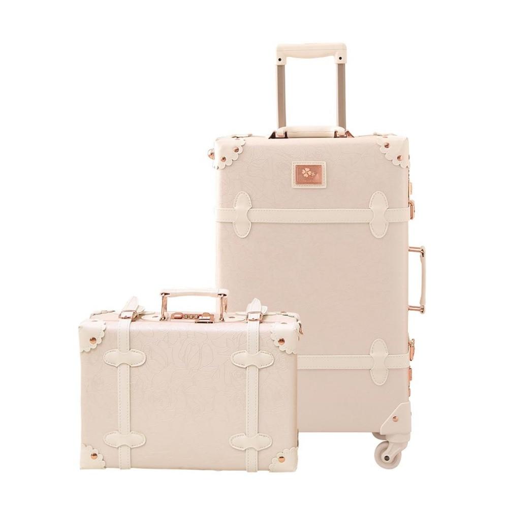 Travel Vintage Luggage Sets Cute Trolley Suitcases Set Lightweight Trunk Retro Style for Women Elegant Kids children