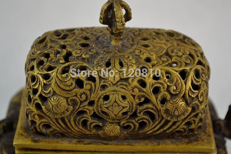 Old Decorated Hand Copper Carving Dragon Flower Rare Exorcise Incense Burner Statue