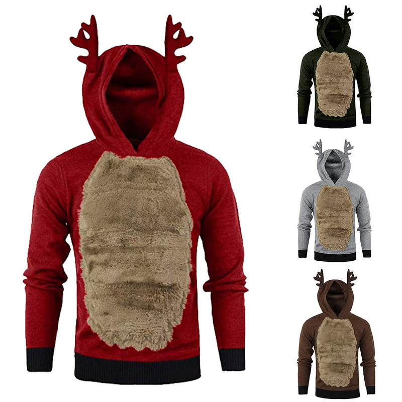 Monerffi Patchwork Hoodies Pullover Long-Sleeve Christmas Outerwear Antlers Autumn Winter