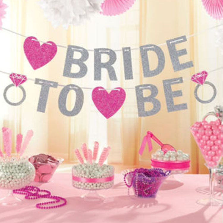a3352e999dc Bridal Shower Bride To Be Silver Glitter Banner Garlands Wedding Decor  Bachelorette Party Bunting Accessories Events Supplies-in Party DIY  Decorations from ...