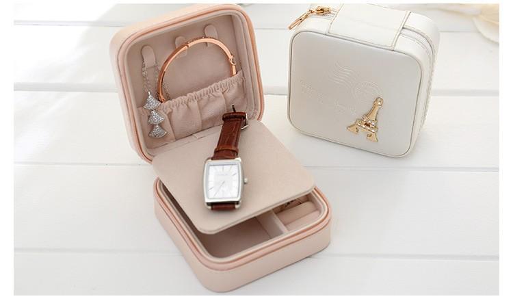 PU Zipper Jewelry Case Faux Leather Makeup Bag