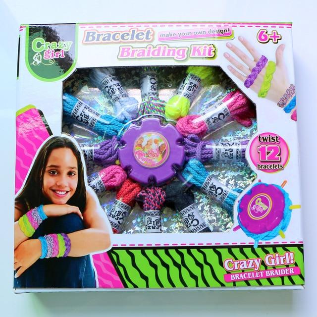 Make your own design Bracelet braiding kit DIY twist 12 bracelets toys Rainbow rope weaving machine learn toy kids girl gift