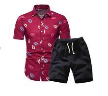 Мужчины Hawaii Holiday Лето Цветочные Блузка Рубашка Верхний Костюм Наборы Черные Брюки 2 ШТ. 6 Цвет