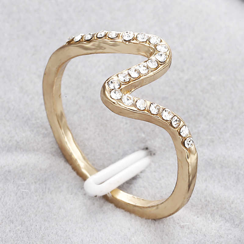 Korean Style Jewelry Simple Cute Sweet Rhinestone Ring Bague Bijoux Femme Lover Gift Gold Wave Ring Engagement Mothers' Gift