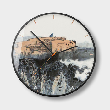 Chinese Ink Painting Wall Clock Living Room New China Creative Personality Watches Silent Bedroom Round Wall Clocks