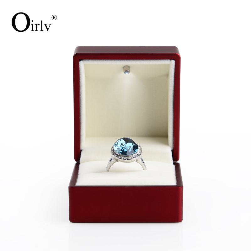oirlv free shipping rechargeable engagement ring box with led red rubber painted jewelry gift box for - Wedding Ring Box
