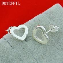 Hot Selling 925 Sterling Silver Heart Charm Woman Earrings Classic Silver Earrings Hypoallergenic Free Shipping цена 2017