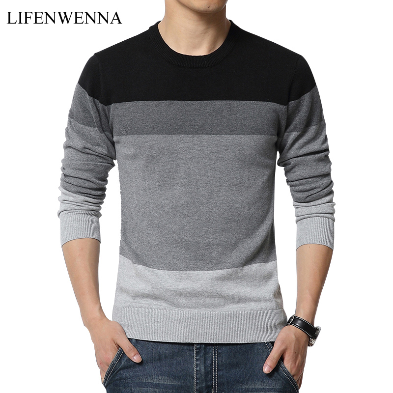Autumn New Style Sweater Men Winter Fashion Spell Color Round Neck Slim Pullover Men Convenient And Comfortable Pull Homme M-5XL