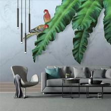 HD hand-painted tropical plants leaves background wall professional production murals wholesale wallpaper poster photo