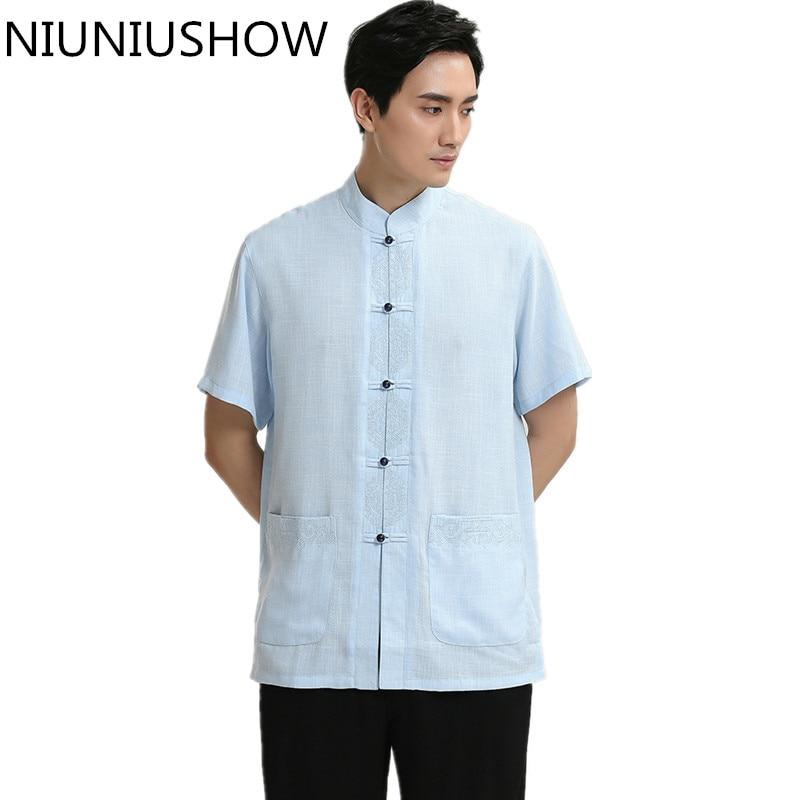High Quality Cotton Linen Tops Sky Blue Chinese Style Male Dress Shirt Novelty Men Kung Fu Tai Chi Shirts Size M L XL XXL XXXL