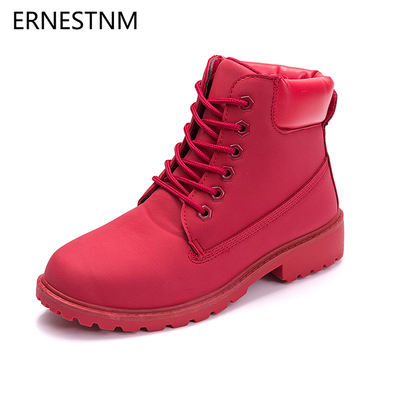 ERNESTNM 2019 Autumn Winter Shoes Women Plush Snow Boot Heel Fashion Keep Warm Women's Boots Woman Size 36 42 Ankle Botas Pink-in Ankle Boots from Shoes