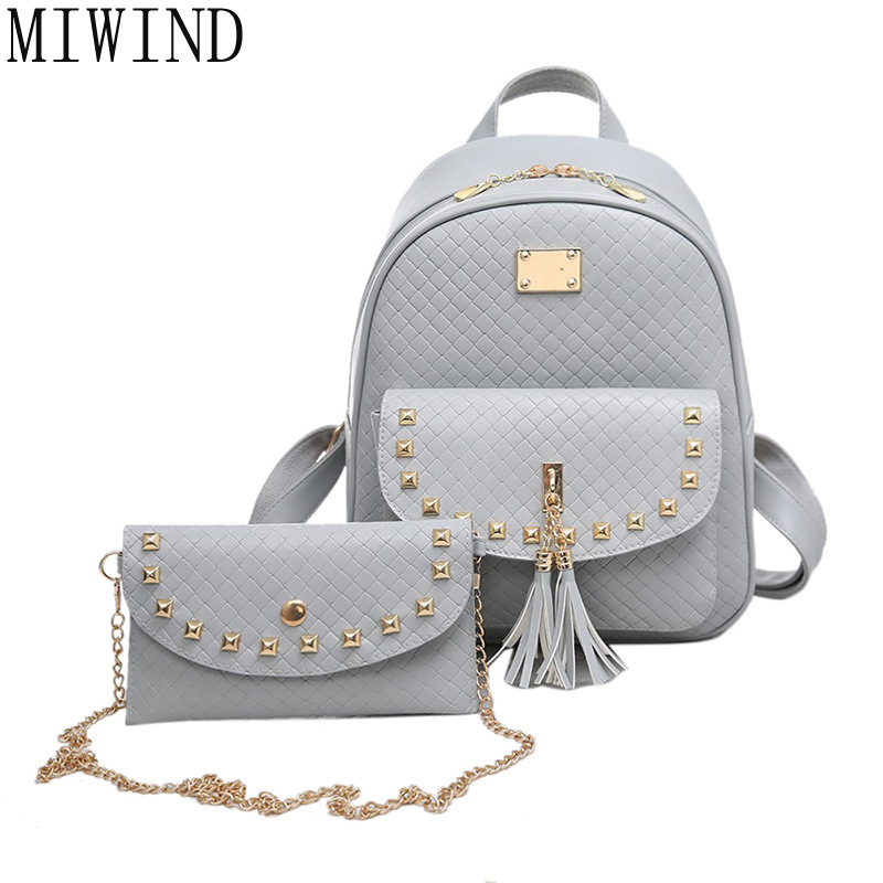 MIWIND 2pcs New Women Backpack Famous Brands Shoulders Female Travel Bags Pu Leather Rivet School bag mochila feminina TLK060 miwind famous brand preppy style leather school backpack bag for college simple design travel leather backpack bags tlj1082
