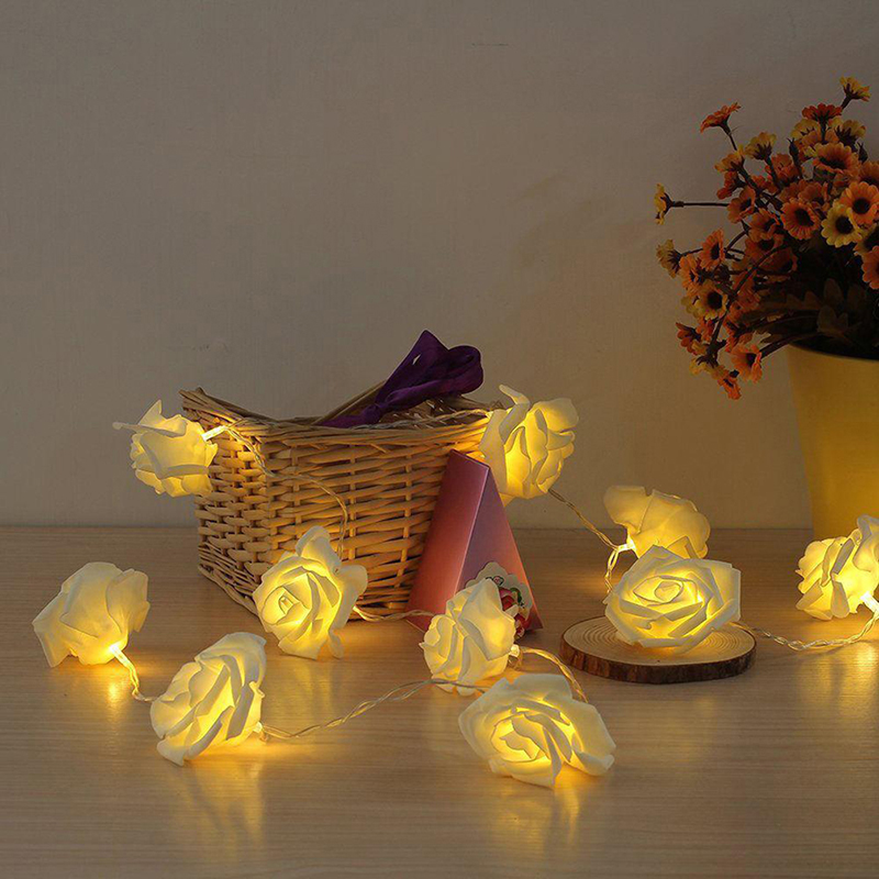 Party Decorations Light 10 LED Rose Flower String Events Parties Wedding Roses LED String Lights Holiday Decoration Gadgets