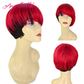 Angelbella 2016 New Ombre Hair Wigs Color 1b#-Red Human Hair Wig Full Bangs Brazilian Natural Hair Short Wigs for Black Women