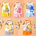 2016 новые Детские мальчики девочки комплект одежды хлопка жилет + брюки Малышей детей футболку + брюки малыша летние костюмы 2 шт. в 1