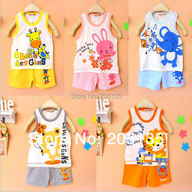 2016 new Baby boys girls cotton clothing set vest +pants Toddler children t shirt+trousers toddler summer suits 2pcs in 1 children three piece two pieces of clothing a pair of pants boys and girls baby suits baby cotton suit high end suits